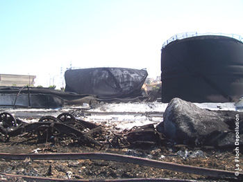 Storage tanks at the Jieh power plant after bombings (Source: Le Floc'h Dépollution)