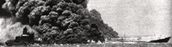 The Atlantic Empress on fire, on 30 July