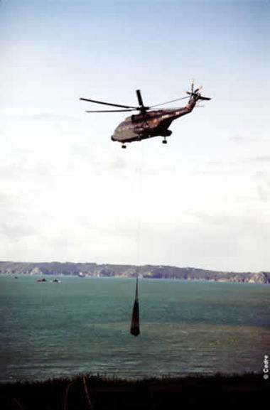 Removal of waste by helicopter.