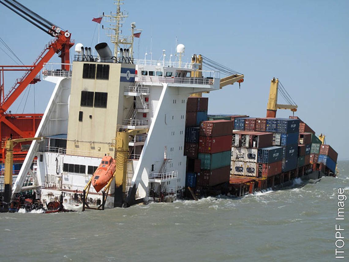 The grounded Bareli container ship