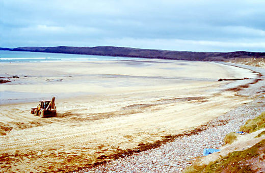 Freshwater West beach after clean-up operations
