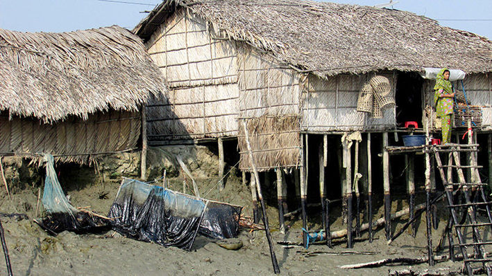 Oiled fishing nets and fishermen's houses