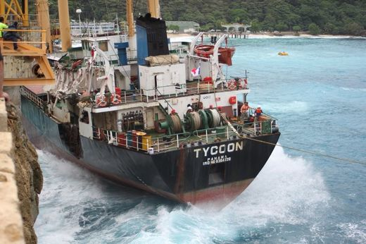 The MV Tycoon against the quay
