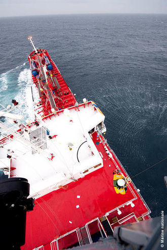 Response team on chemical tanker YM Uranus