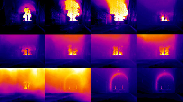 In situ burning viewed with an IR camera
