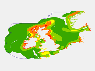 Species vulnerability map in spring, in case of pollution affecting the seabed