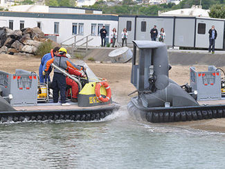 Hovercraft trial at Cedre's technical facilities, illustrating the water-to-land transition