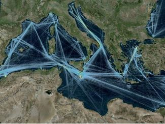Traffic of large oil tankers in the Mediterranean Sea