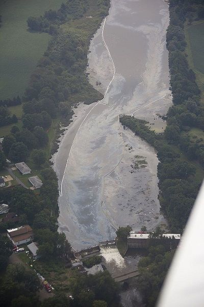 9th August 2010 - Aerial view of oil sheen in the Ceresco Dam area