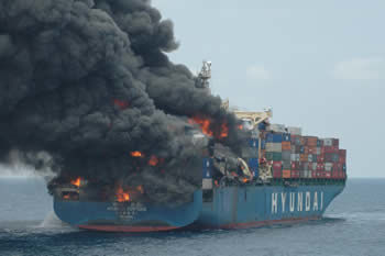 Stern of the Hyundai Fortune on fire