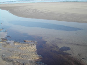 Immersed oil slick off Riyan airport