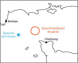 Location of the wreck of the Perintis and of the fishing ban area