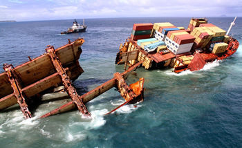 The wreck of the Rena broken in two, January 2012 © Maritime New Zealand