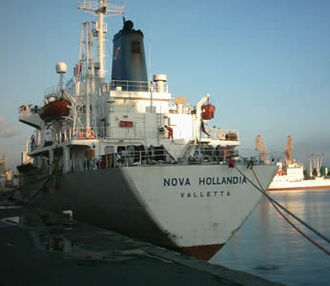 The Nova Hollandia alongside quay after being rerouted to Brest