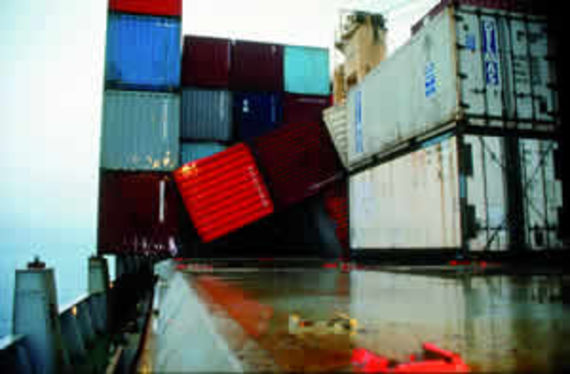 Containers broken loose on the deck of the Sherbro (source: Cedre)