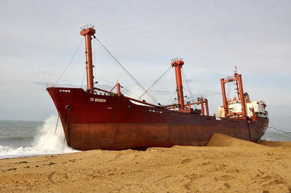 TK Bremen grounded on Erdeven beach, Morbihan, France, December 2011