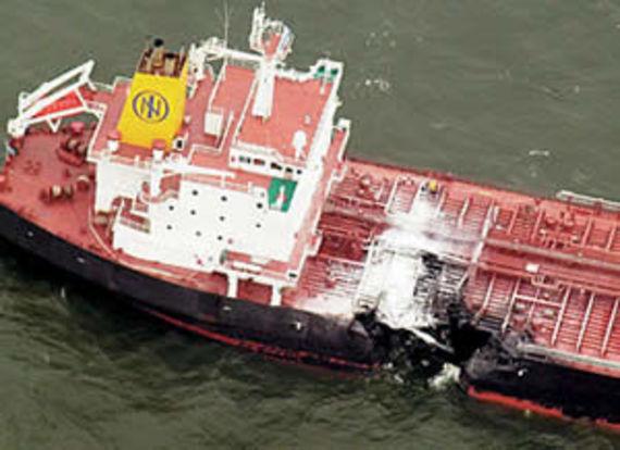 Le Baltic Carrier après la collision (source : DR)