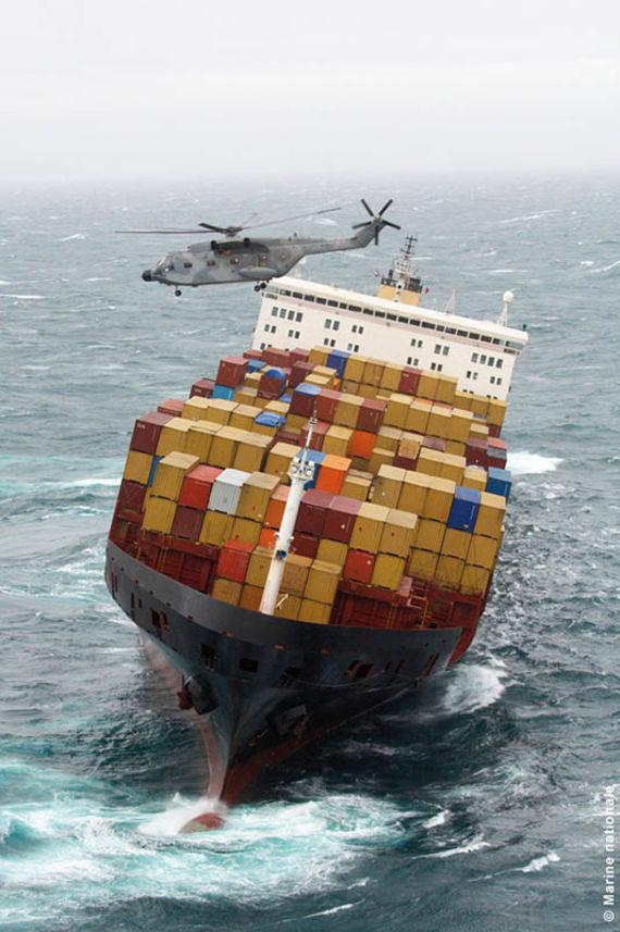 Le MSC Napoli (Source : Marine nationale)