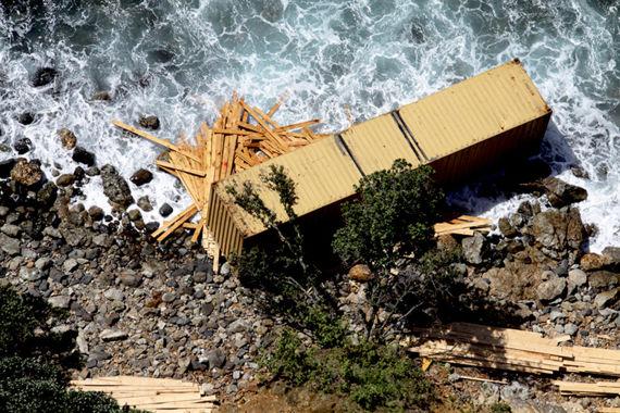 Conteneur échoué sur l'île de Motiti, baie de Plenty © Maritime New Zealand