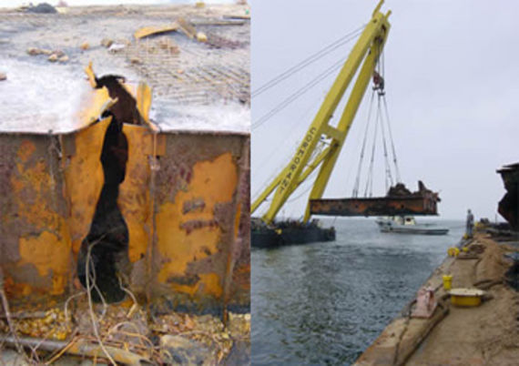 Cutting out of the double bottom and hoisting the wreck on land