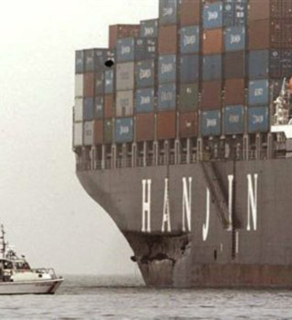 The gash in the hull of the Cosco Busan