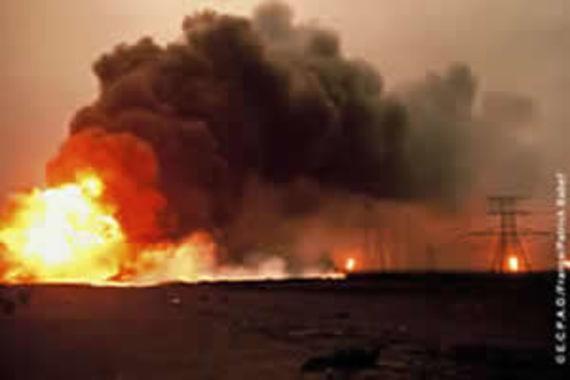 Oil wells on fire)