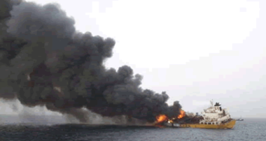 Fire aboard the chemical tanker Stolt Valor. Source: Rights reserved..