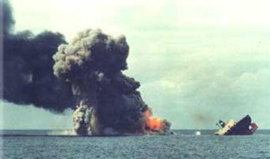 The Golar Patricia sinking