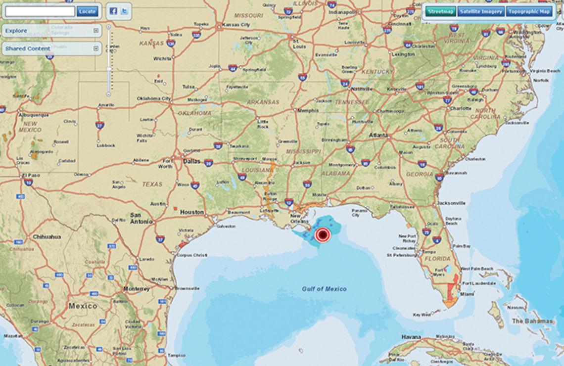 Carte collaborative des actions menées dans le Golfe du Mexique (cliquer pour y accéder)